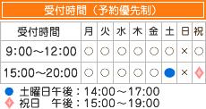 受付時間9時-12時/15時00分-20時00分土曜日午後14時~17時/